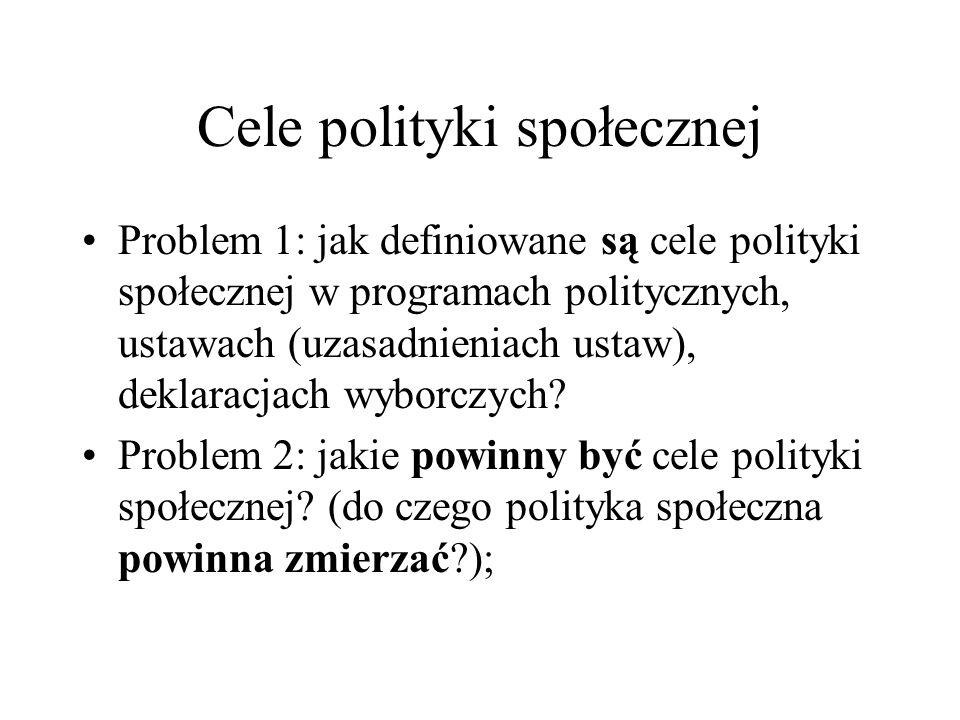Cele polityki społecznej Problem 1: jak definiowane są cele polityki społecznej w programach politycznych, ustawach (uzasadnieniach ustaw), deklaracja