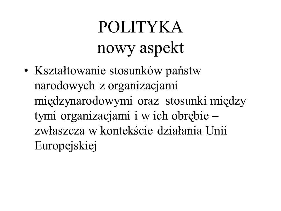 policy & politics Policy – dążenie do rozwiązywania problemów, wiemy co chcemy zmienić i szukamy dobrych sposobów załatwienia sprawy, Politics – dążenie do zdobycia i utrzymania władzy, identyfikowanie i rozwiązywanie problemów ma charakter instrumentalny,