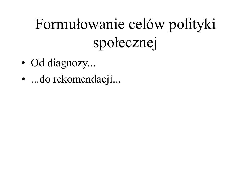 Formułowanie celów polityki społecznej Od diagnozy......do rekomendacji...