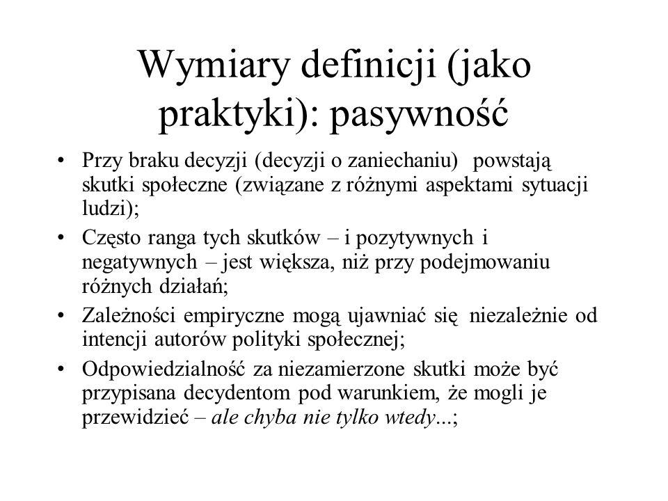 Wymiary definicji (jako praktyki): pasywność Przy braku decyzji (decyzji o zaniechaniu) powstają skutki społeczne (związane z różnymi aspektami sytuac