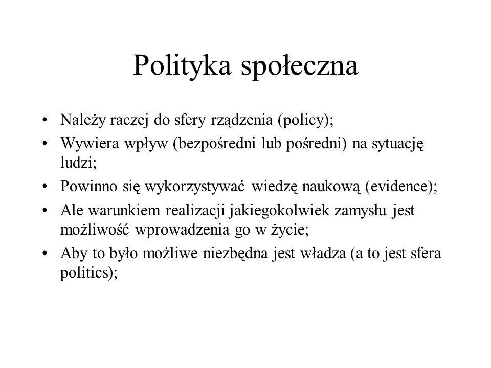 Polityka społeczna Należy raczej do sfery rządzenia (policy); Wywiera wpływ (bezpośredni lub pośredni) na sytuację ludzi; Powinno się wykorzystywać wi