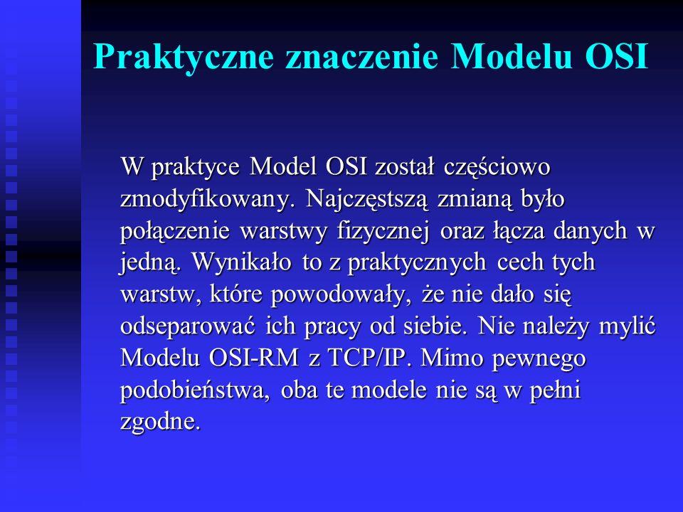 Praktyczne znaczenie Modelu OSI W praktyce Model OSI został częściowo zmodyfikowany. Najczęstszą zmianą było połączenie warstwy fizycznej oraz łącza d