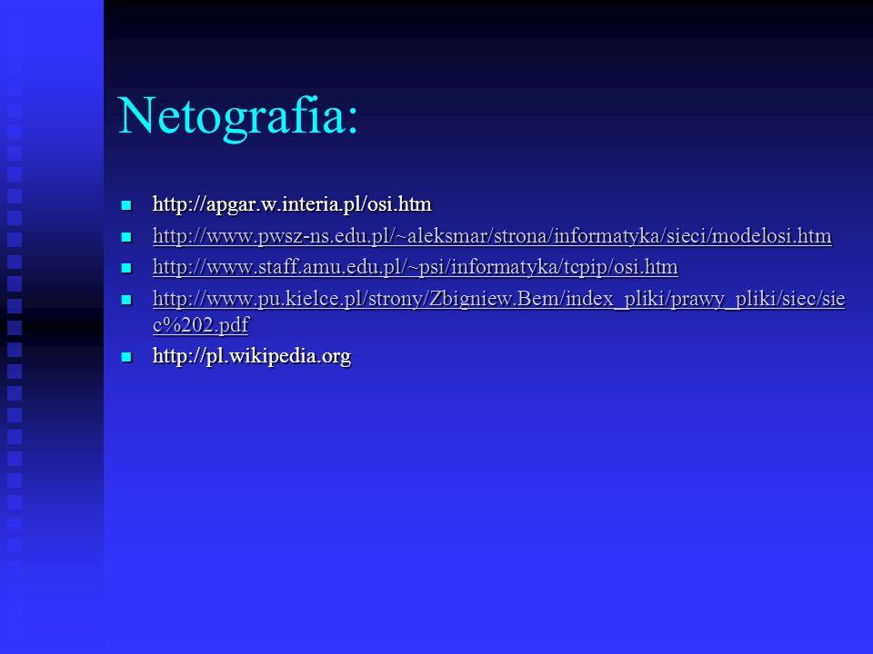Netografia: http://apgar.w.interia.pl/osi.htm http://apgar.w.interia.pl/osi.htm http://www.pwsz-ns.edu.pl/~aleksmar/strona/informatyka/sieci/modelosi.