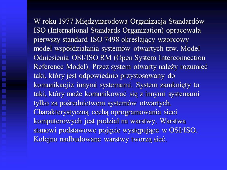 W roku 1977 Międzynarodowa Organizacja Standardów ISO (International Standards Organization) opracowała pierwszy standard ISO 7498 określający wzorcow