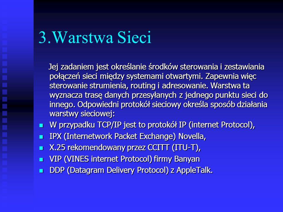 3.Warstwa Sieci Jej zadaniem jest określanie środków sterowania i zestawiania połączeń sieci między systemami otwartymi. Zapewnia więc sterowanie stru