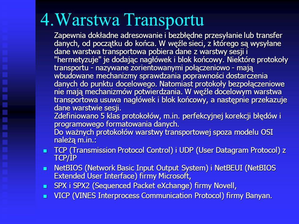 4.Warstwa Transportu Zapewnia dokładne adresowanie i bezbłędne przesyłanie lub transfer danych, od początku do końca. W węźle sieci, z którego są wysy