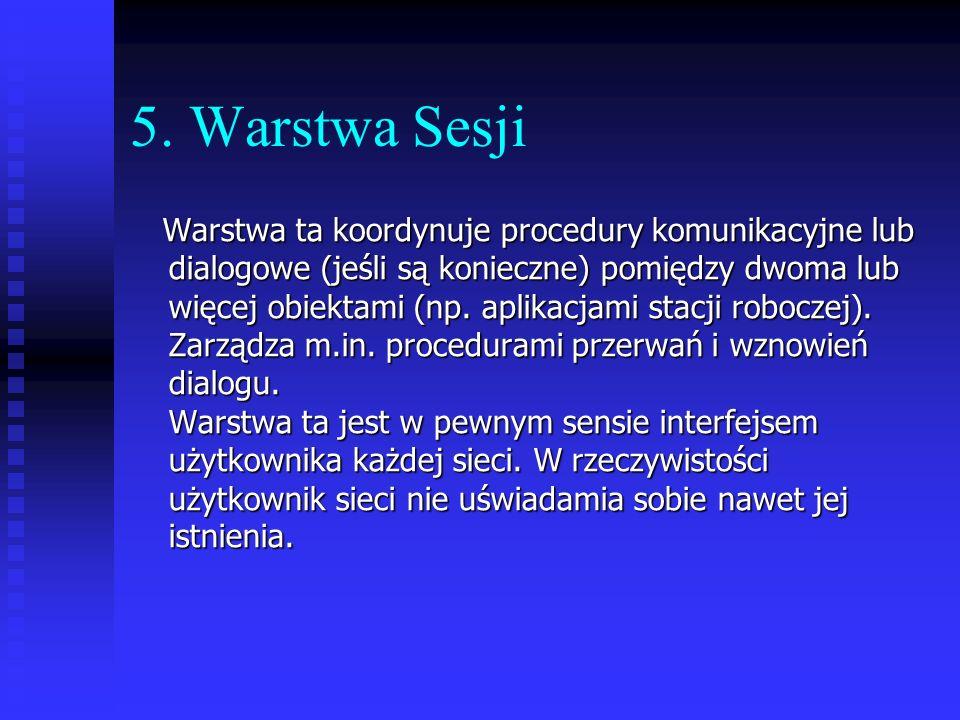 5. Warstwa Sesji Warstwa ta koordynuje procedury komunikacyjne lub dialogowe (jeśli są konieczne) pomiędzy dwoma lub więcej obiektami (np. aplikacjami