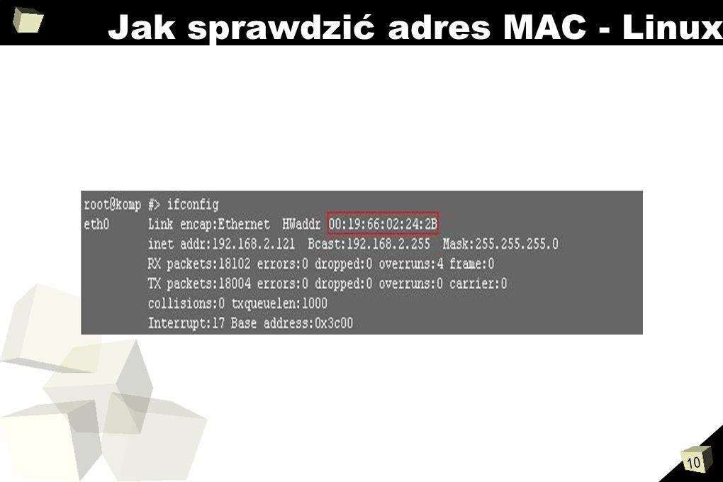 10 Jak sprawdzić adres MAC - Linux