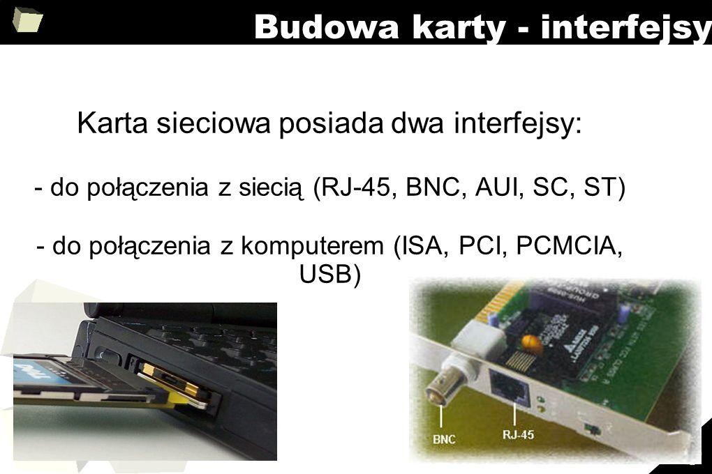 15 Budowa karty - interfejsy Karta sieciowa posiada dwa interfejsy: - do połączenia z siecią (RJ-45, BNC, AUI, SC, ST) - do połączenia z komputerem (I