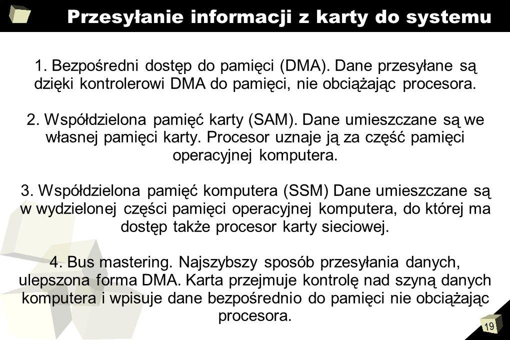 19 Przesyłanie informacji z karty do systemu 1. Bezpośredni dostęp do pamięci (DMA). Dane przesyłane są dzięki kontrolerowi DMA do pamięci, nie obciąż