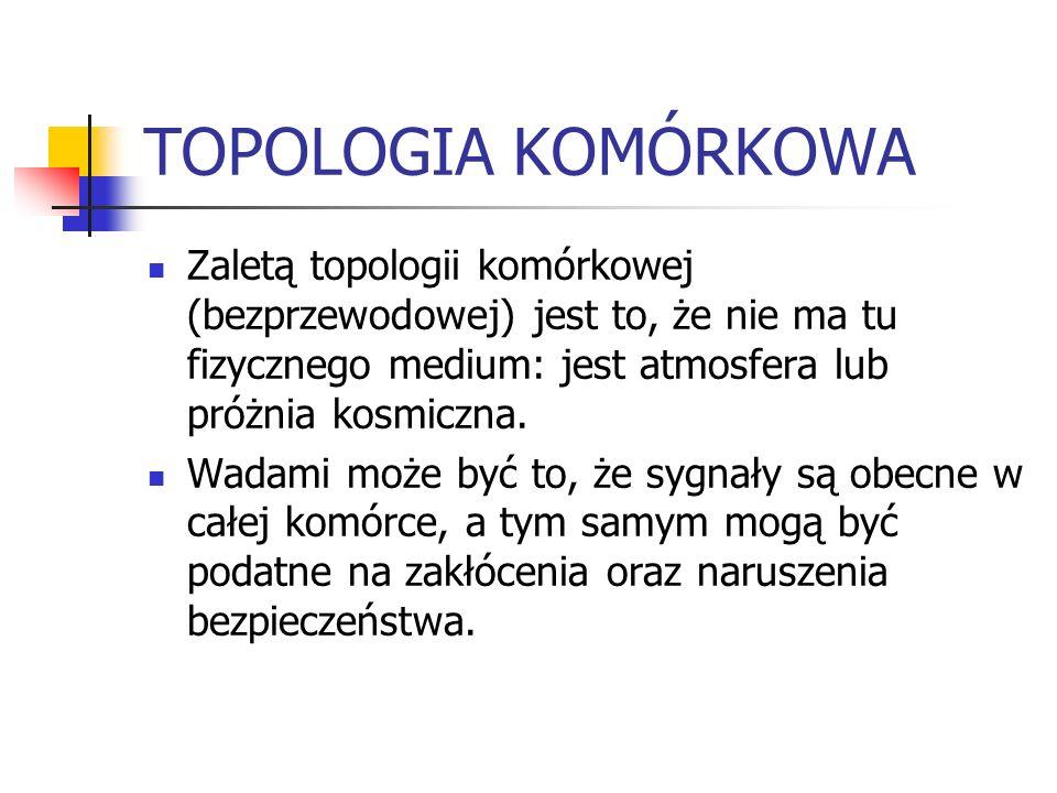 TOPOLOGIA KOMÓRKOWA Zaletą topologii komórkowej (bezprzewodowej) jest to, że nie ma tu fizycznego medium: jest atmosfera lub próżnia kosmiczna. Wadami
