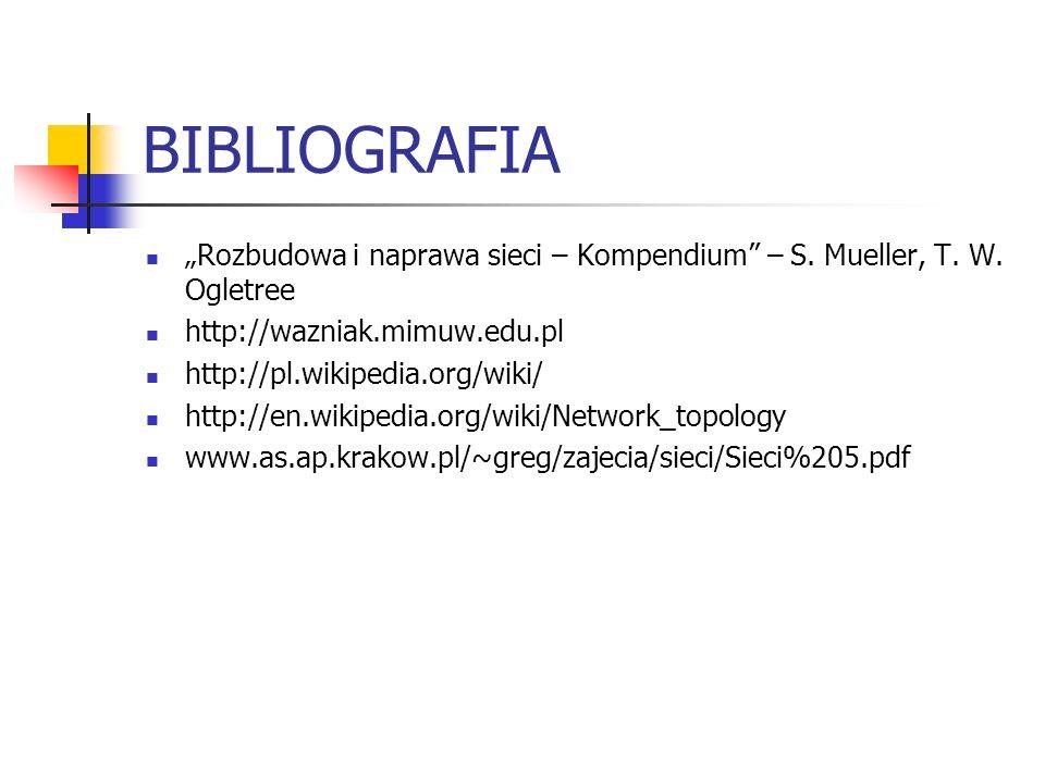 BIBLIOGRAFIA Rozbudowa i naprawa sieci – Kompendium – S. Mueller, T. W. Ogletree http://wazniak.mimuw.edu.pl http://pl.wikipedia.org/wiki/ http://en.w