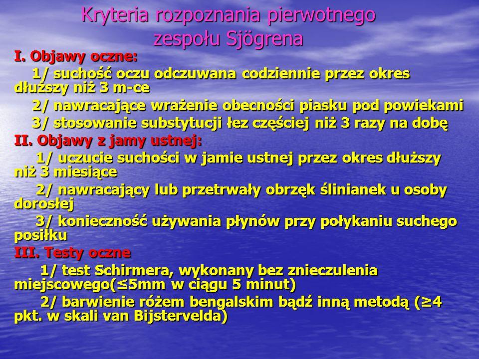 Kryteria rozpoznania pierwotnego zespołu Sjögrena IV.