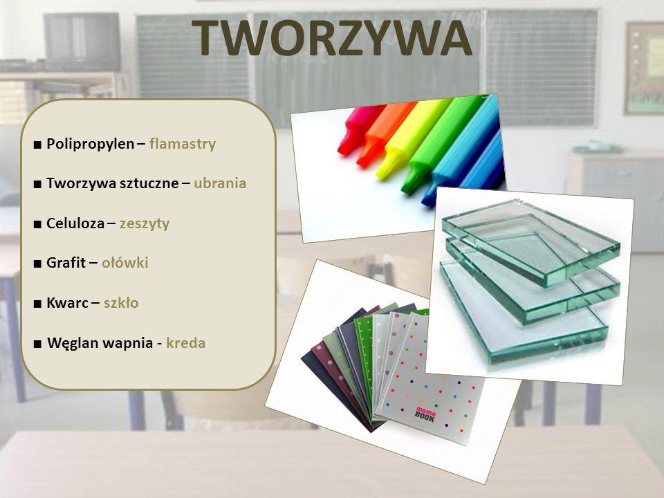 TWORZYWA Polipropylen – flamastry Tworzywa sztuczne – ubrania Celuloza – zeszyty Grafit – ołówki Kwarc – szkło Węglan wapnia - kreda