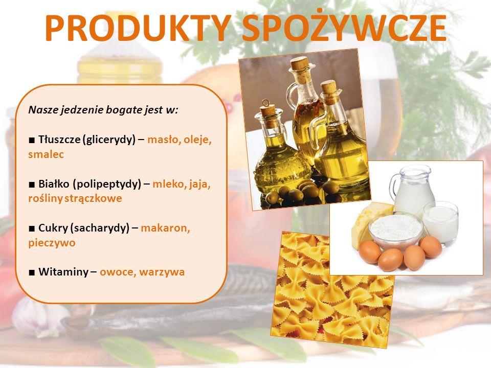 PRODUKTY SPOŻYWCZE Nasze jedzenie bogate jest w: Tłuszcze (glicerydy) – masło, oleje, smalec Białko (polipeptydy) – mleko, jaja, rośliny strączkowe Cu