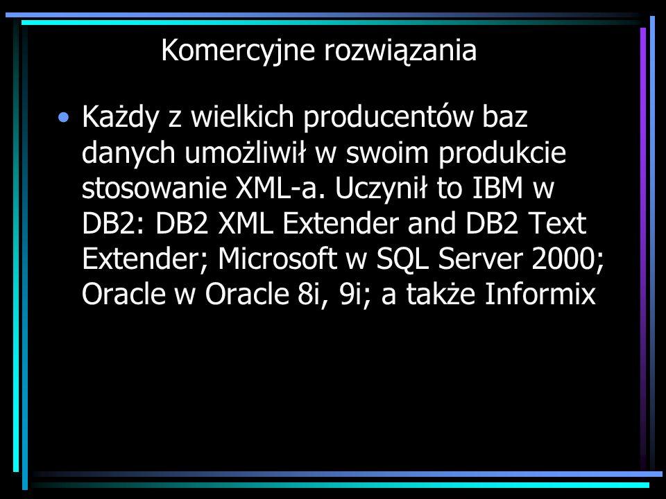 Komercyjne rozwiązania Każdy z wielkich producentów baz danych umożliwił w swoim produkcie stosowanie XML-a. Uczynił to IBM w DB2: DB2 XML Extender an