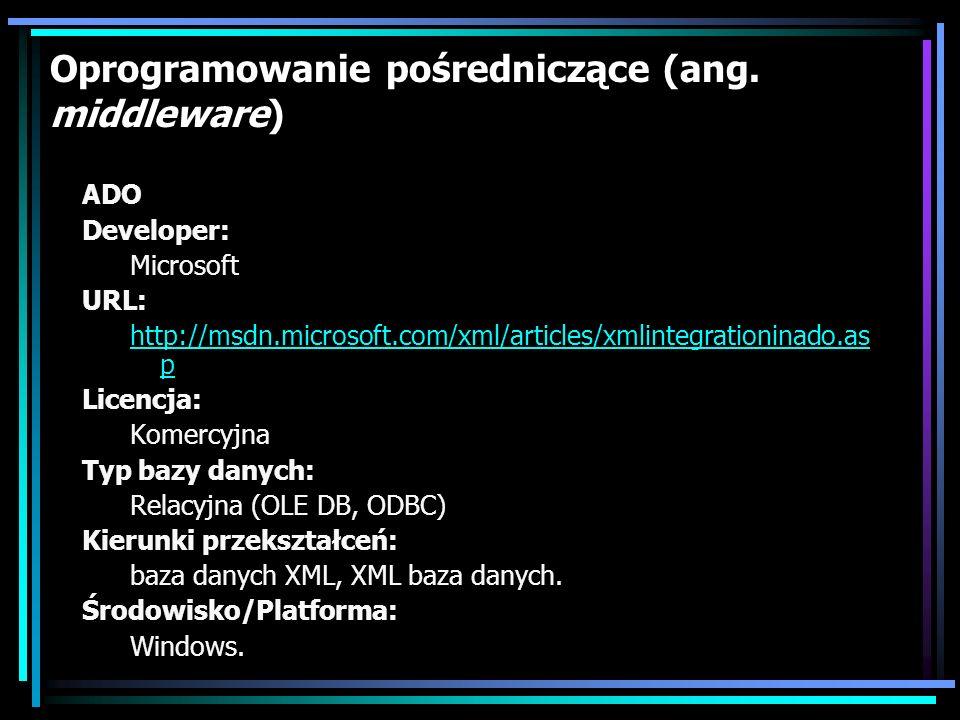 DB2XML Developer: Volker Turau URL: http://www.informatik.fh- wiesbaden.de/~turau/DB2XML/index.html Licencja: Open Source Typ bazy danych: Relacyjne (JDBC) Kierunki przekształceń: baza danych XML Środowisko/Platforma: Java