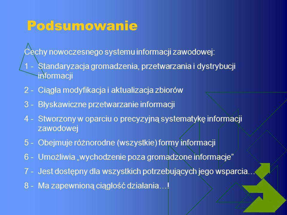 Podsumowanie Cechy nowoczesnego systemu informacji zawodowej: 1 -Standaryzacja gromadzenia, przetwarzania i dystrybucji informacji 2 -Ciągła modyfikac