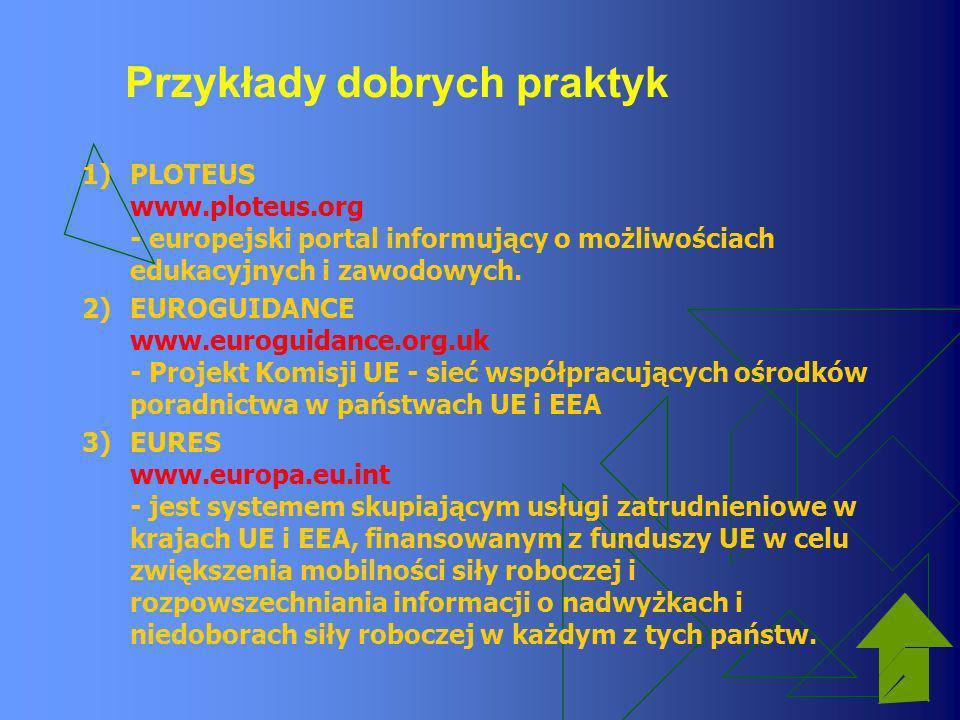 Przykłady dobrych praktyk 1)PLOTEUS www.ploteus.org - europejski portal informujący o możliwościach edukacyjnych i zawodowych. 2)EUROGUIDANCE www.euro