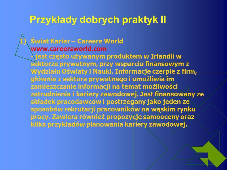 Przykłady dobrych praktyk II 1)Świat Karier – Careere World www.careersworld.com - jest często używanym produktem w Irlandii w sektorze prywatnym, prz