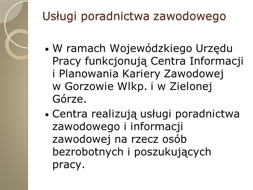 Usługi poradnictwa zawodowego W ramach Wojewódzkiego Urzędu Pracy funkcjonują Centra Informacji i Planowania Kariery Zawodowej w Gorzowie Wlkp. i w Zi