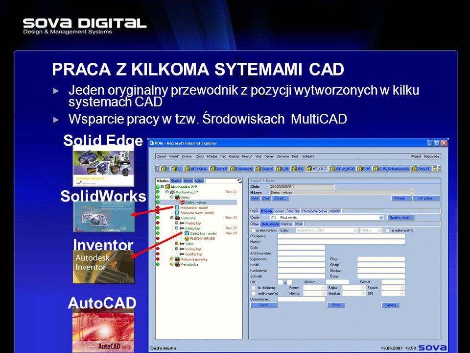 Jeden oryginalny przewodnik z pozycji wytworzonych w kilku systemach CAD Wsparcie pracy w tzw. Środowiskach MultiCAD 25 PRACA Z KILKOMA SYTEMAMI CAD S