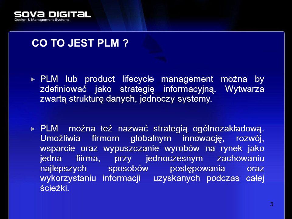 3 PLM lub product lifecycle management można by zdefiniować jako strategię informacyjną. Wytwarza zwartą strukturę danych, jednoczy systemy. PLM można