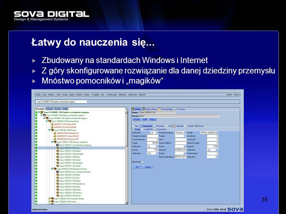 Zbudowany na standardach Windows i Internet Z góry skonfigurowane rozwiązanie dla danej dziedziny przemysłu Mnóstwo pomocników i magików 36 Łatwy do n
