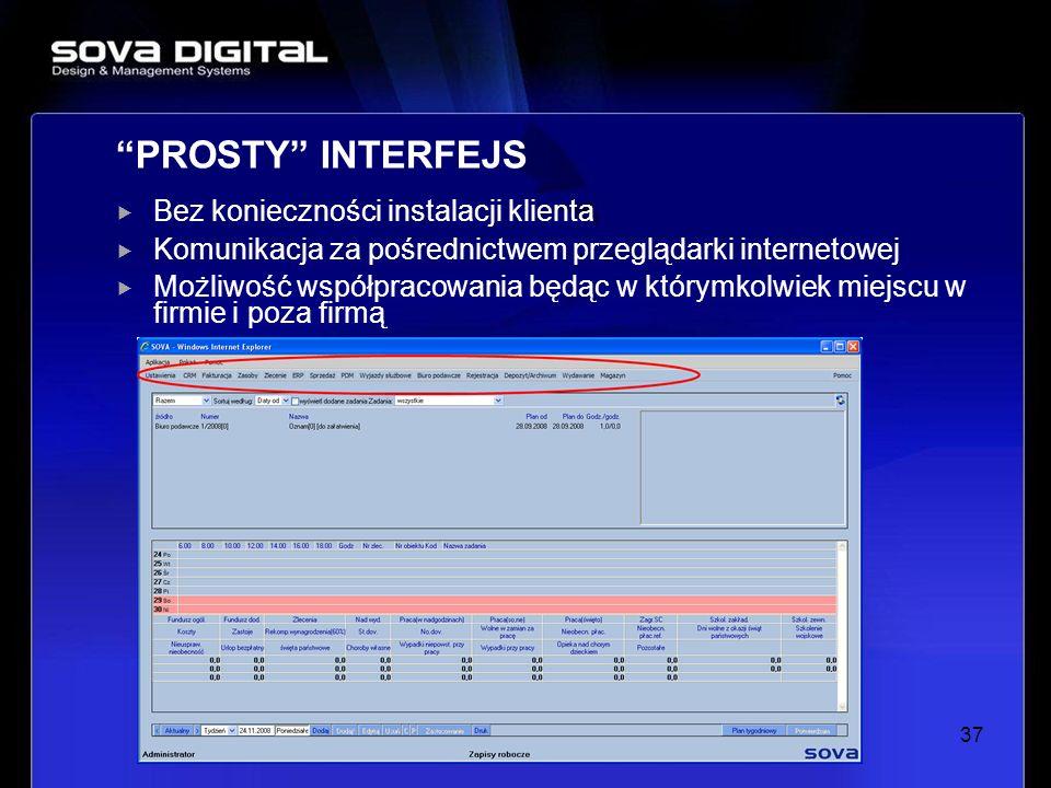 Bez konieczności instalacji klienta Komunikacja za pośrednictwem przeglądarki internetowej Możliwość współpracowania będąc w którymkolwiek miejscu w f