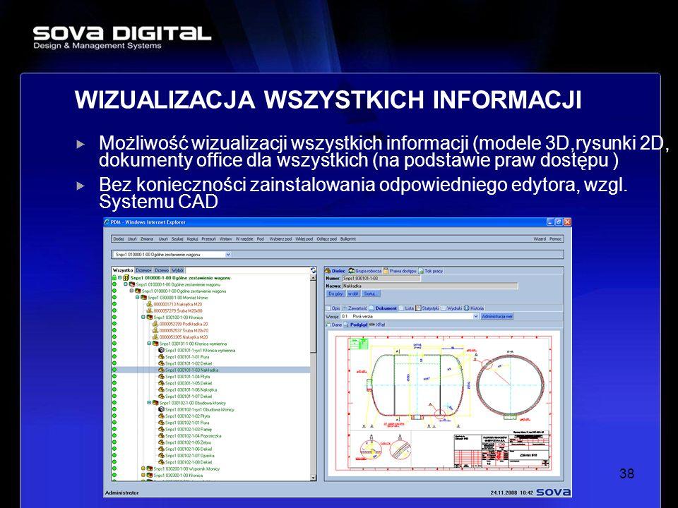 Możliwość wizualizacji wszystkich informacji (modele 3D,rysunki 2D, dokumenty office dla wszystkich (na podstawie praw dostępu ) Bez konieczności zain