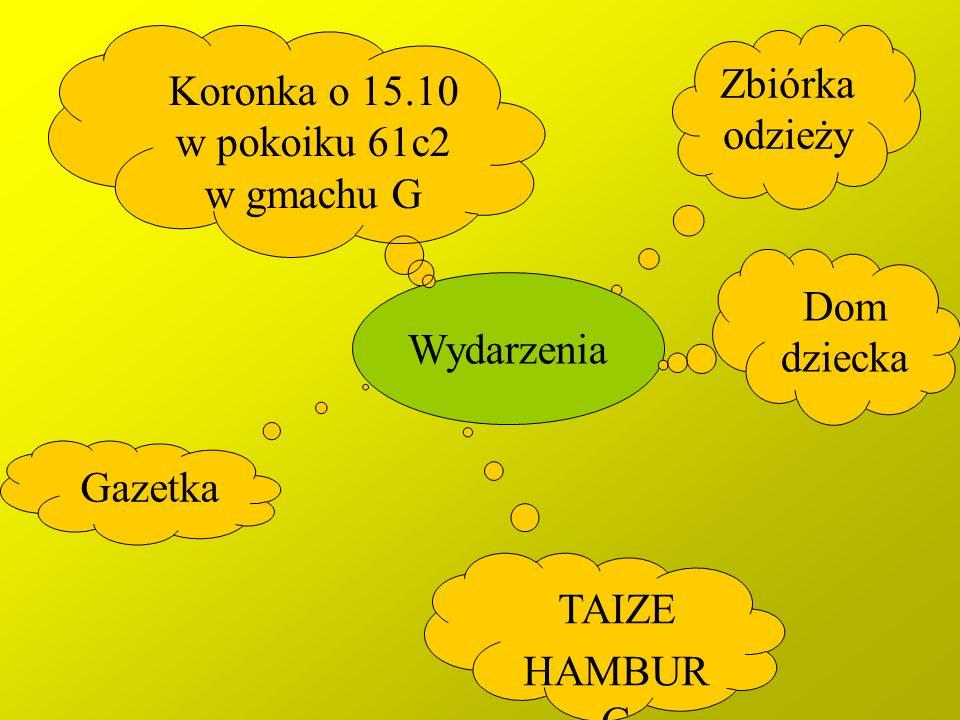 Zbiórka odzieży Wydarzenia TAIZE HAMBUR G Gazetka Koronka o 15.10 w pokoiku 61c2 w gmachu G Dom dziecka