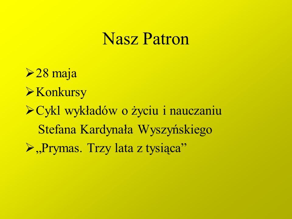 Nasz Patron 28 maja Konkursy Cykl wykładów o życiu i nauczaniu Stefana Kardynała Wyszyńskiego Prymas. Trzy lata z tysiąca