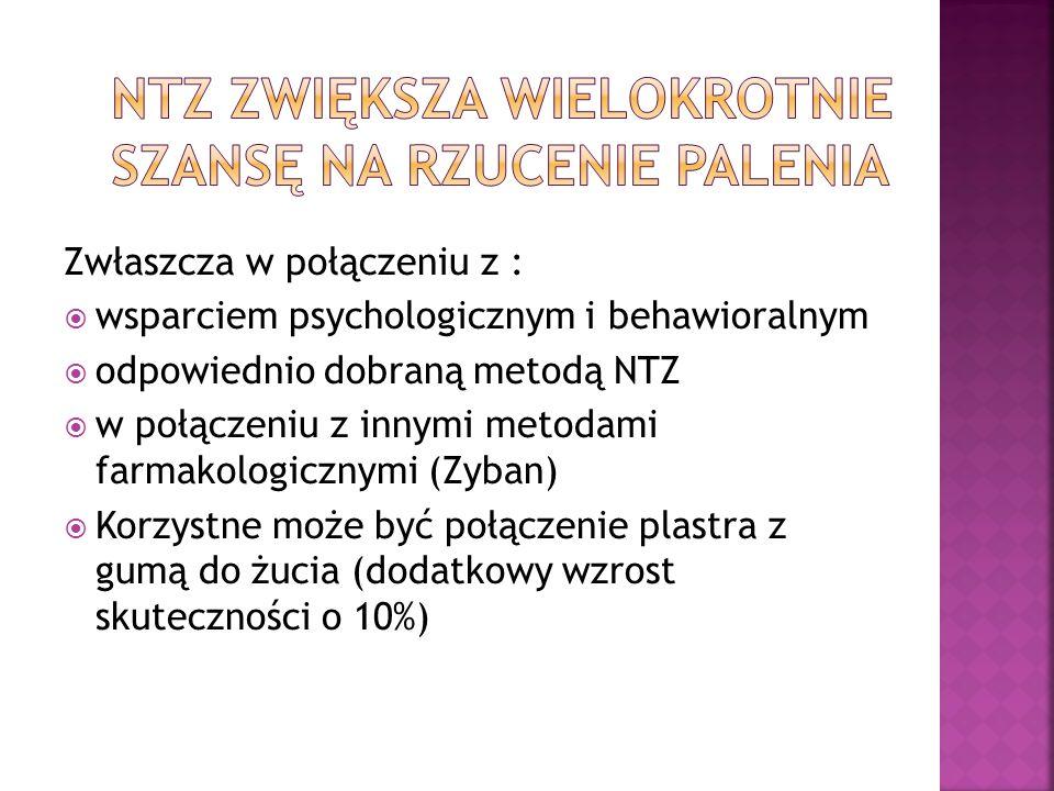 Zwłaszcza w połączeniu z : wsparciem psychologicznym i behawioralnym odpowiednio dobraną metodą NTZ w połączeniu z innymi metodami farmakologicznymi (