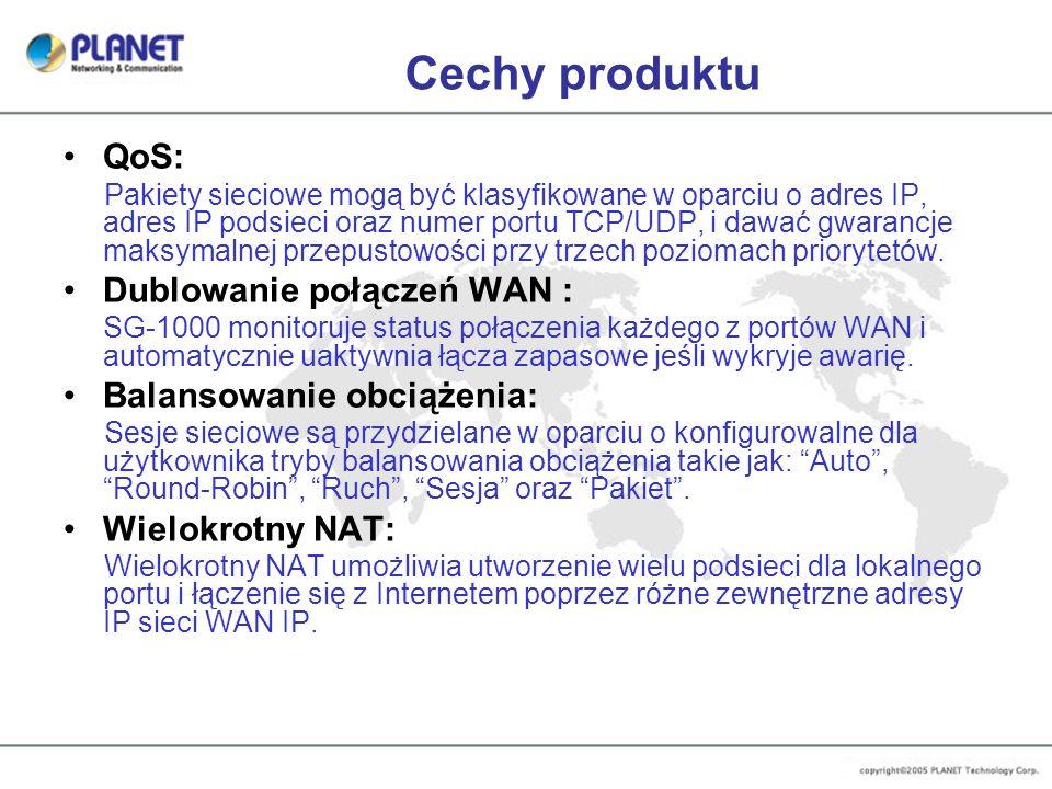 Cechy produktu QoS: Pakiety sieciowe mogą być klasyfikowane w oparciu o adres IP, adres IP podsieci oraz numer portu TCP/UDP, i dawać gwarancje maksym