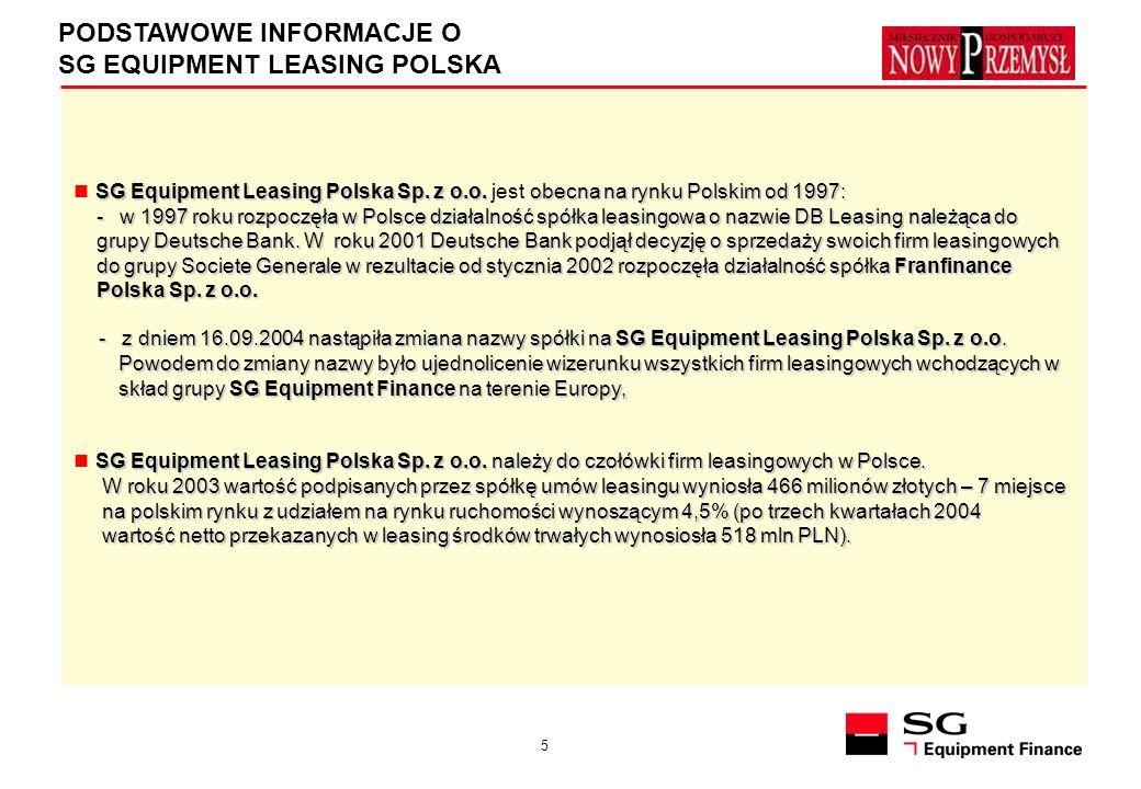 5 PODSTAWOWE INFORMACJE O SG EQUIPMENT LEASING POLSKA SG Equipment Leasing Polska Sp. z o.o. obecna na rynku Polskim od 1997: SG Equipment Leasing Pol