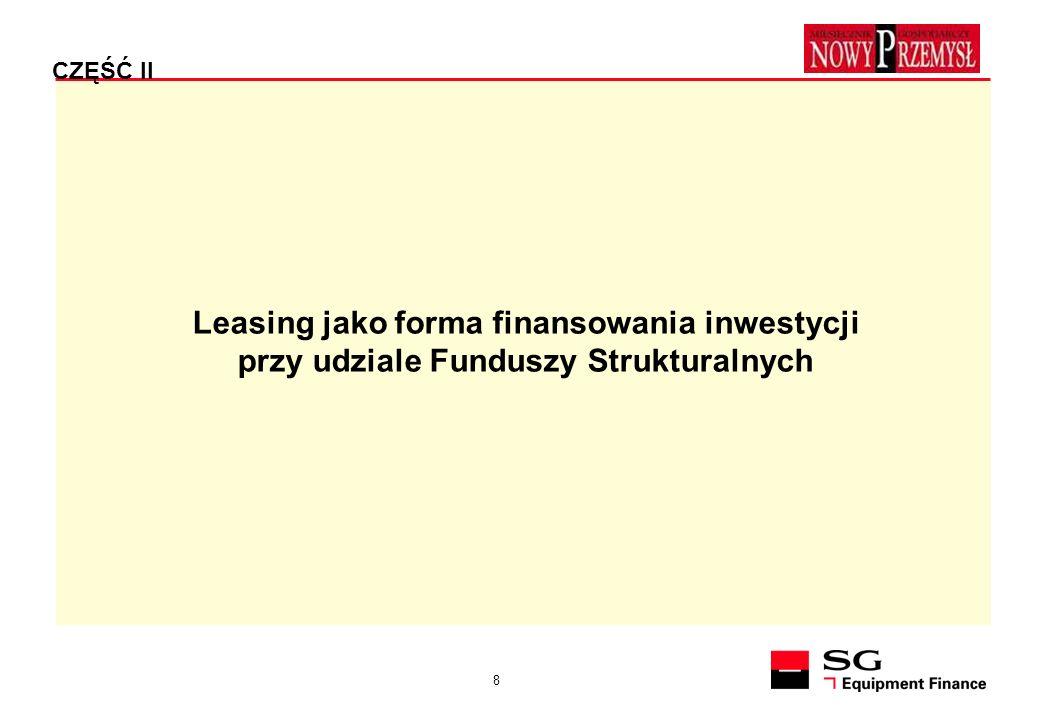 9 PARAMETRY UMOWY LEASINGU - A FUNDUSZE STRUKTURALNE umowa leasingu - koszt kwalifikowany - rata kapitałowa z tytułu leasingu prowadzącego do przeniesienia własności środka trwałego na Korzystającego.