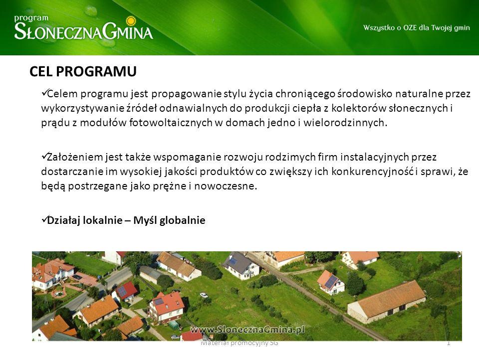 CEL PROGRAMU Celem programu jest propagowanie stylu życia chroniącego środowisko naturalne przez wykorzystywanie źródeł odnawialnych do produkcji ciep