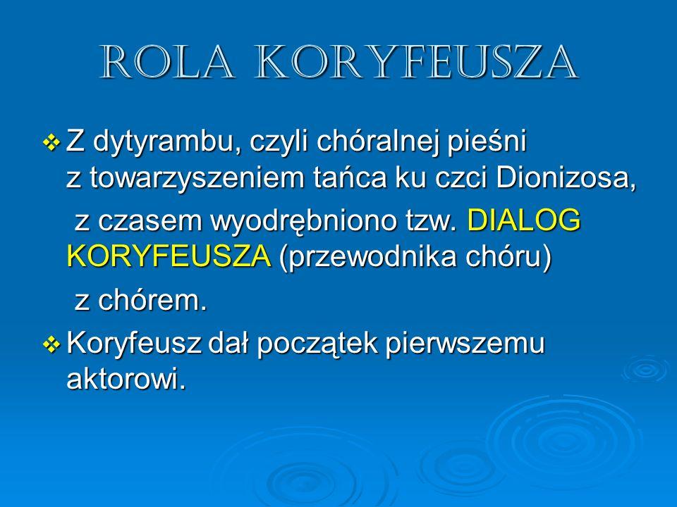 Rola koryfeusza Z dytyrambu, czyli chóralnej pieśni z towarzyszeniem tańca ku czci Dionizosa, Z dytyrambu, czyli chóralnej pieśni z towarzyszeniem tań