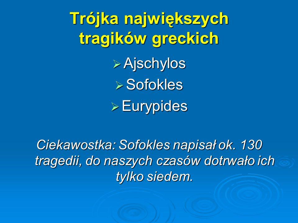 Trójka największych tragików greckich Ajschylos Ajschylos Sofokles Sofokles Eurypides Eurypides Ciekawostka: Sofokles napisał ok. 130 tragedii, do nas
