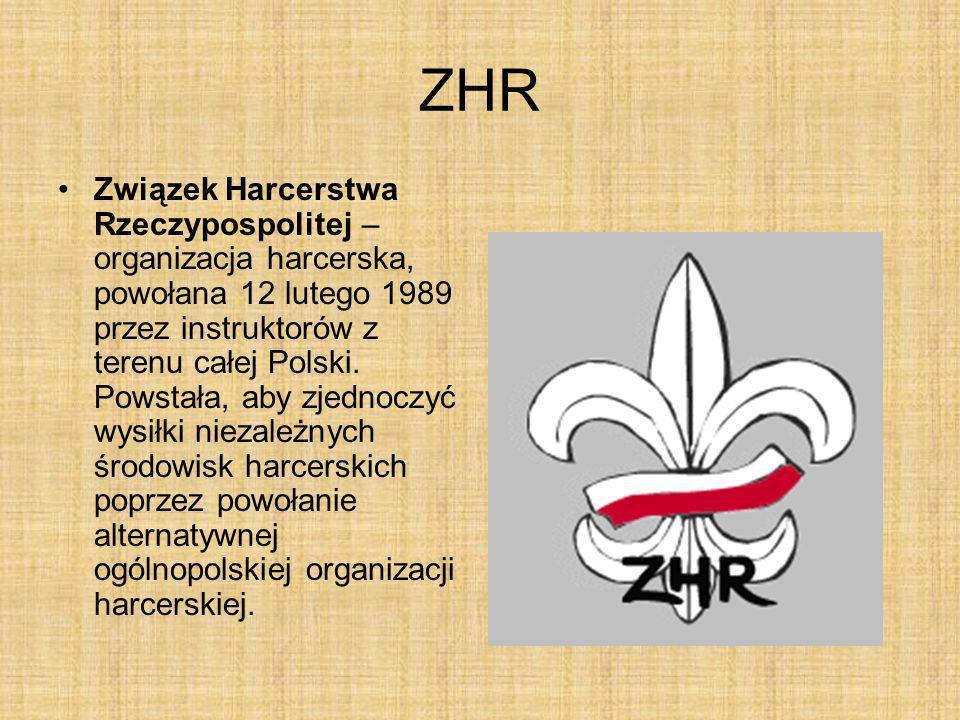 ZHR Związek Harcerstwa Rzeczypospolitej – organizacja harcerska, powołana 12 lutego 1989 przez instruktorów z terenu całej Polski. Powstała, aby zjedn