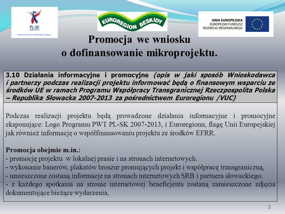 6 Projekt pisma – wydruk kolorowy Projekt współfinansowany przez Unię Europejską z Europejskiego Funduszu Rozwoju Regionalnego w 85% w ramach Programu Współpracy Transgranicznej Rzeczpospolita Polska – Republika Słowacka 2007-2013 oraz z budżetu państwa w 10% za pośrednictwem Euroregionu Beskidy.
