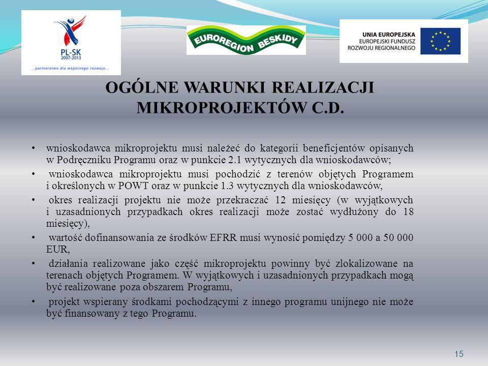 15 OGÓLNE WARUNKI REALIZACJI MIKROPROJEKTÓW C.D. wnioskodawca mikroprojektu musi należeć do kategorii beneficjentów opisanych w Podręczniku Programu o