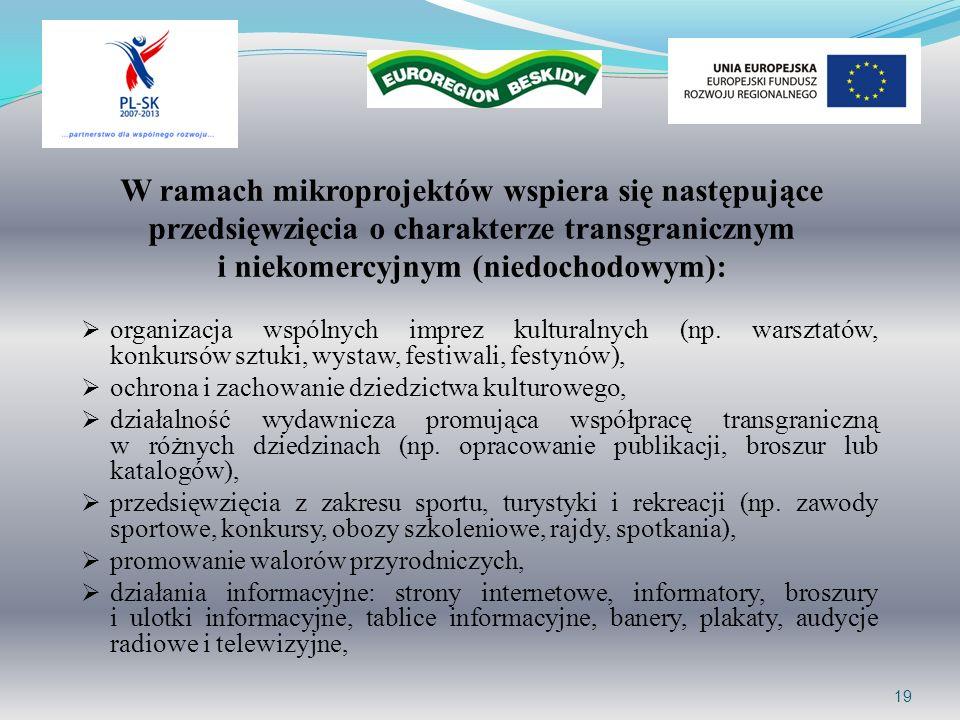 W ramach mikroprojektów wspiera się następujące przedsięwzięcia o charakterze transgranicznym i niekomercyjnym (niedochodowym): organizacja wspólnych