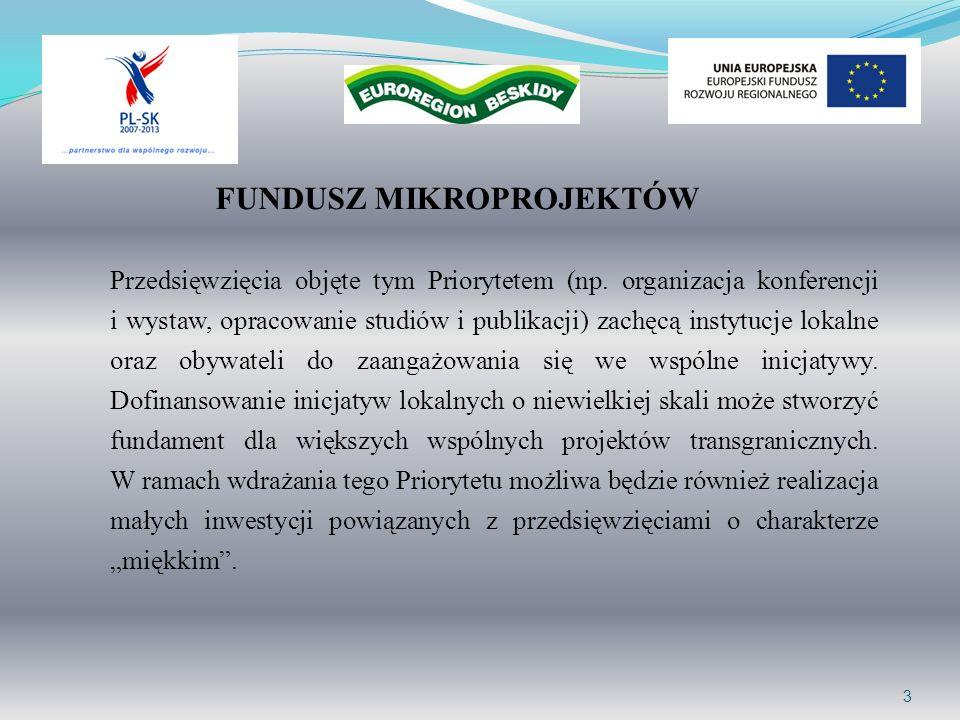 14 OGÓLNE WARUNKI REALIZACJI MIKROPROJEKTÓW jest zgodny z politykami wspólnotowymi, jest zgodny z wymogami Europejskiego Funduszu Rozwoju Regionalnego, jest spójny z zatwierdzonym przez Komisję Europejską Programem Operacyjnym Współpracy Transgranicznej Rzeczpospolita Polska-Republika Słowacka 2007-2013 i spełnia szczegółowe kryteria określone dla III osi priorytetowej w Podręczniku Programu, jest zgodny z Wytycznymi dla wnioskodawców mikroprojektów, mieć ewidentny transgraniczny charakter i udokumentowany udział partnera zagranicznego, być przygotowany do realizacji, mieć realistyczny budżet i zapewniony odpowiedni poziom współfinansowania krajowego ( pkt 1.5 niniejszych Wytycznych), być zgodny ze strategiami, planami dotyczącymi rozwoju miasta, gminy, regionu/euroregionu, wpisywać się w założenia strategii lizbońskiej i strategii goeteborskiej, mieć wpływ na rozwój społeczno-gospodarczy pogranicza,