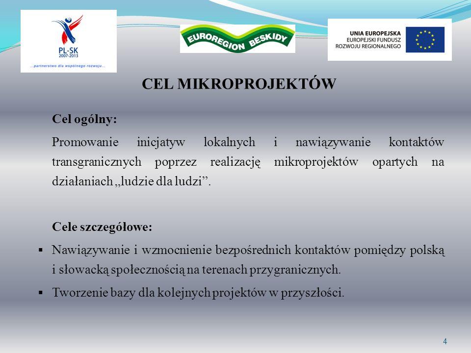 4 CEL MIKROPROJEKTÓW Cel ogólny: Promowanie inicjatyw lokalnych i nawiązywanie kontaktów transgranicznych poprzez realizację mikroprojektów opartych n