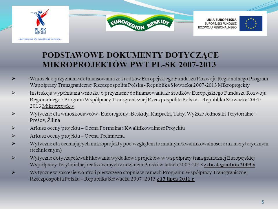5 PODSTAWOWE DOKUMENTY DOTYCZĄCE MIKROPROJEKTÓW PWT PL-SK 2007-2013 Wniosek o przyznanie dofinansowania ze środków Europejskiego Funduszu Rozwoju Regi