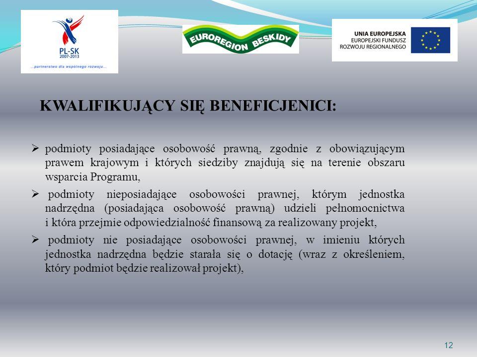 12 KWALIFIKUJĄCY SIĘ BENEFICJENICI: podmioty posiadające osobowość prawną, zgodnie z obowiązującym prawem krajowym i których siedziby znajdują się na terenie obszaru wsparcia Programu, podmioty nieposiadające osobowości prawnej, którym jednostka nadrzędna (posiadająca osobowość prawną) udzieli pełnomocnictwa i która przejmie odpowiedzialność finansową za realizowany projekt, podmioty nie posiadające osobowości prawnej, w imieniu których jednostka nadrzędna będzie starała się o dotację (wraz z określeniem, który podmiot będzie realizował projekt),