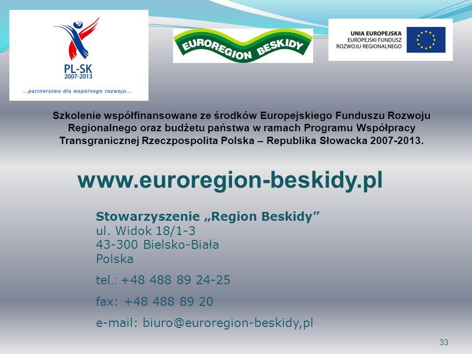 33 www.euroregion-beskidy.pl Stowarzyszenie Region Beskidy ul.