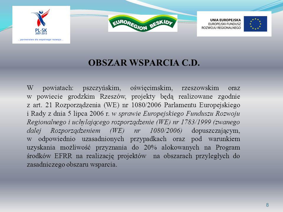 9 DOSTĘPNA KWOTA WSPARCIA Alokacja dla Euroregionu Beskidy na lata 2007-2010 wynosi: 2.693.566,76 EUR Kwota dostępna w ramach II naboru wynosi: 1.005.883,16 EUR + oszczędności z realizacji mikroprojektów z I naboru
