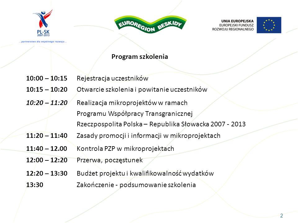 2 Program szkolenia 10:00 – 10:15 Rejestracja uczestników 10:15 – 10:20 Otwarcie szkolenia i powitanie uczestników 10:20 – 11:20 Realizacja mikroproje
